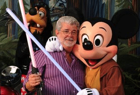 George Lucas and Disney Characters With Lightsabers