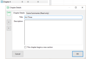 The Chapter Details Settings Screen in yWriter